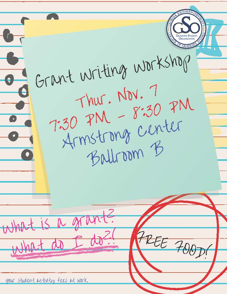 grant writing workshop thursday november 7th 7:30 pm - 8:30 pm armstrong center ballroom b
